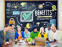Benefits Gain Profit Earning Income Education Learning Concept.  Stock Photo