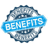 Benefits grungy stamp. Isolated on white background Royalty Free Stock Photo