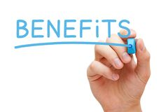 Benefits Handwritten With Blue Marker Royalty Free Stock Photo