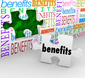 Benefits Hole In Wall Puzzle Piece Complete Unique Selling Poin Stock Images
