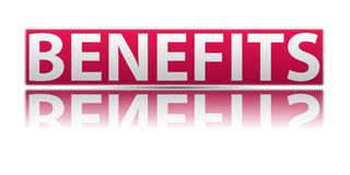 Benefits icon. Text 'benefits' in white uppercase letters on a red rectangular sign board with a partial reflection below it, white background Royalty Free Stock Photo