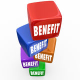 Benefits Incentives Advantages Cubes Stacked Blocks. Benefit word on blocks or cubes to illustrate advantages or incentives of a job or opportunity stock illustration