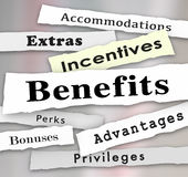 Benefits Incentives Bonuses Extras Perks Newspaper Headlines. Benefits Incentives Bonuses Extras Perks and Advantages newspaper headlines to illustrate updates royalty free illustration
