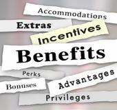 Benefits Incentives Bonuses Extras Perks Newspaper Headlines. Benefits Incentives Bonuses Extras Perks and Advantages newspaper headlines to illustrate updates Stock Photo
