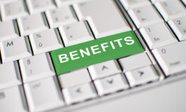 Benefits key on laptop keyboard Royalty Free Stock Photo