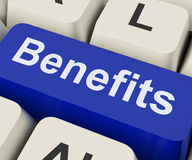 Benefits Key Means Advantage Or Reward Stock Image