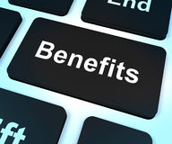 Benefits Key Showing Bonus Perks Or Rewards Royalty Free Stock Photos
