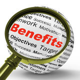 Benefits Magnifier Definition Means Advantages Or Monetary Bonus. Benefits Magnifier Definition Meaning Advantages Rewards Or Monetary Bonuses Stock Photography