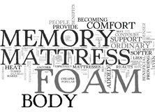 Benefits Of The Memory Foam Mattressword Cloud. BENEFITS OF THE MEMORY FOAM MATTRESS TEXT WORD CLOUD CONCEPT Royalty Free Stock Photo