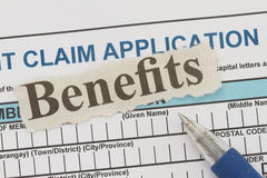 Benefits newspaper cutout Royalty Free Stock Images