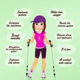 Benefits of nordic walking vector illustration