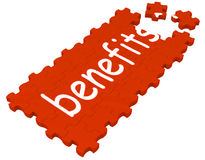 Benefits Puzzle Shows Compensations Stock Photo