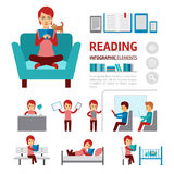 Benefits of reading books infographic elements, woman sitting in a comfortable chair and read book vector flat icons. Isolated on white background - stock Royalty Free Stock Images