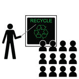 Benefits of recycling. Man giving lecture on the benefits of recycling Vector Illustration
