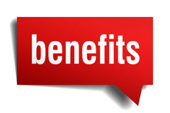 Benefits red 3d realistic paper speech bubble. Isolated on white Stock Images