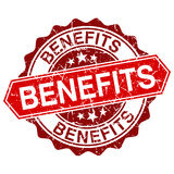 Benefits red vintage stamp on white background Stock Image
