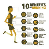 10 benefits of running vector Royalty Free Stock Image