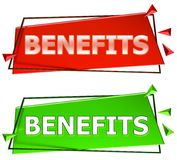 Benefits sign. Benefits modern 3d sign isolated on white background,color red and green Stock Image