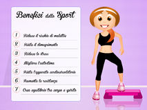 Benefits of sport. Funny illustration of sport benefits Stock Images