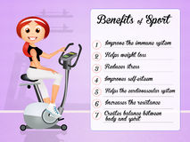 Benefits of sport. Funny illustration of sport benefits Stock Photography