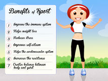 Benefits of sport. Funny illustration of sport benefits Royalty Free Stock Image