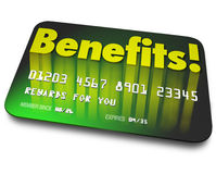 Benefits Word Credit Card Rewards Program Shopper Loyalty. Benefits word on a green credit card to illustrate shopper loyalty points earned by using the card in Stock Photo