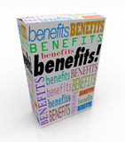 Benefits Word Product Box Marketing Unique Qualities. The word Benefits on a product box or package to illustrate the advantage or special uniqe qualities of Stock Photo