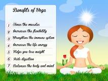 Benefits of the yoga. Funny illustration of yoga benefits Stock Photos