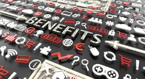 `benefits` word with 3d icons vector illustration