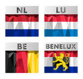 Benelux countries flags Stock Images