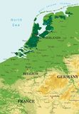 Benelux relief map. Highly detailed physical map of  Benelux in vector Royalty Free Stock Image
