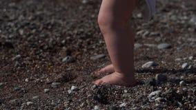 Benen av en liten pojke på stranden i sanden med skal, ultrarapid stock video