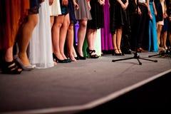Benen en schoenen van goed-geklede vrouwen bij een viering stock afbeelding