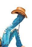 Benen met hoed op wit Royalty-vrije Stock Afbeeldingen