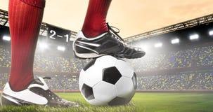 Benen van voetbal of voetbalster stock afbeeldingen