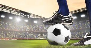 Benen van voetbal of voetbalster stock foto