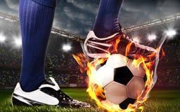 Benen van voetbal of voetbalster stock foto's