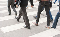 Benen van voetgangers in een zebrapad Stock Afbeeldingen