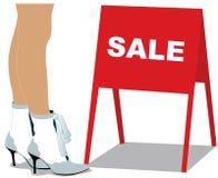 Benen van vrouw en verkoop Stock Fotografie