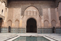 Marocko Marrakesh Ali Ben Youssef islamiska Medersa Royaltyfria Foton