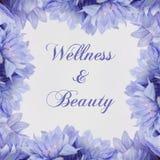 Benessere e bellezza - tema con i fiori blu illustrazione di stock