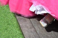 Benet för brud` s i en sko och en rosa färg Arkivfoto
