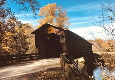 Benetka被遮盖的桥在阿士塔布拉县-俄亥俄-美国 库存照片