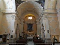 Benevento - Binnenland van de kerk van Sant 'Anna stock afbeeldingen