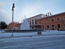 Benevento - centrali stacja z śniegiem Obrazy Royalty Free