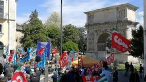 Benevento - facklig demonstration lager videofilmer