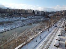 Benevento - Lungocalore med snö Royaltyfria Bilder