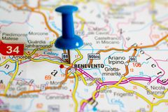 Benevento on map. With push pin Stock Photography