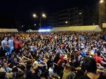 Benevento - Maxischermo i fyrkanten för fotbollfinalen Arkivbilder