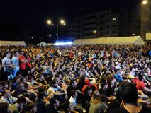 Benevento, Maxischermo w kwadracie dla futbolowego finału - Obrazy Stock